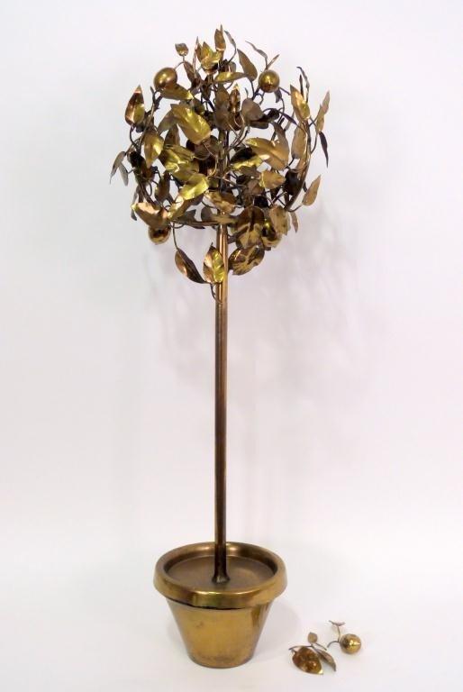 102: Mid-Century Brass Faux Lemon Tree