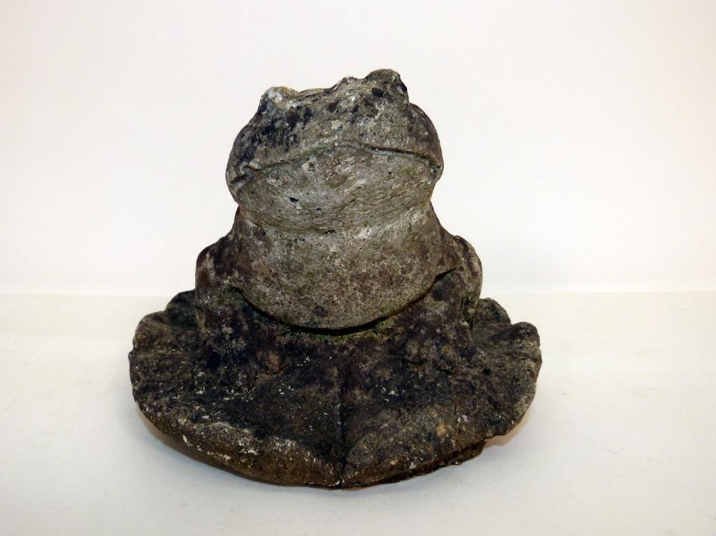 103: Antique Cement Garden Frog