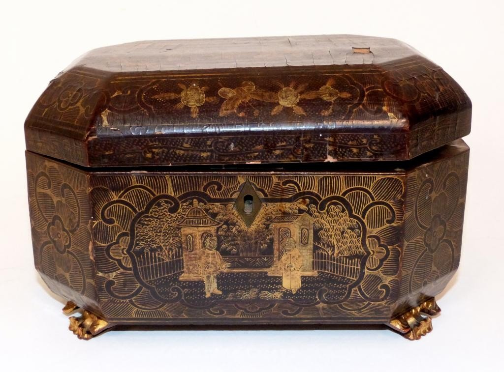 105: Antique Regency Japanned Tea Caddy