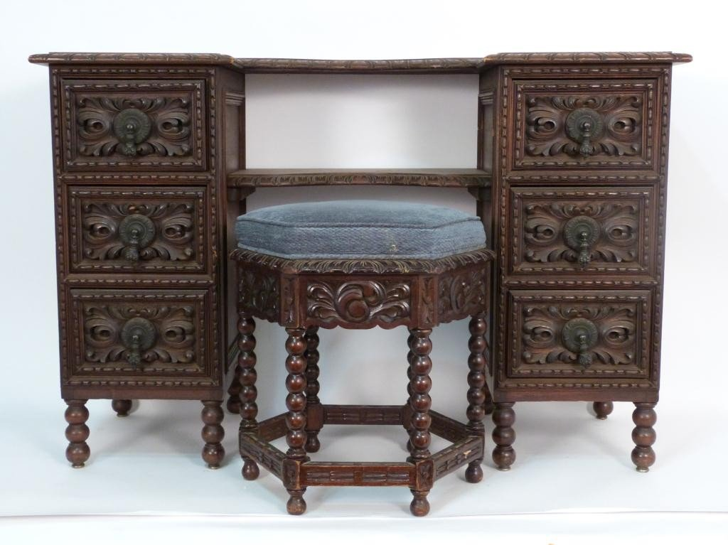 110: Spanish Colonial Carved Vanity and Bench