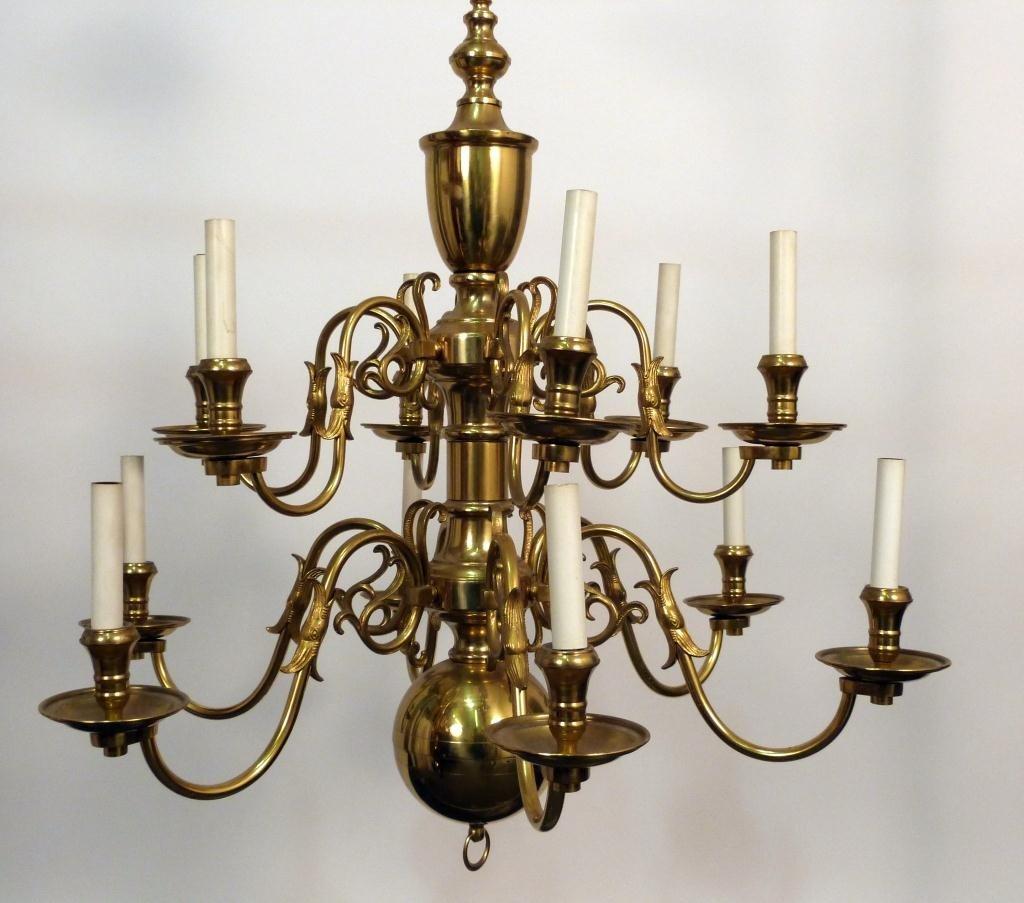 116: Dutch Style Brass 12 Arm Chandelier