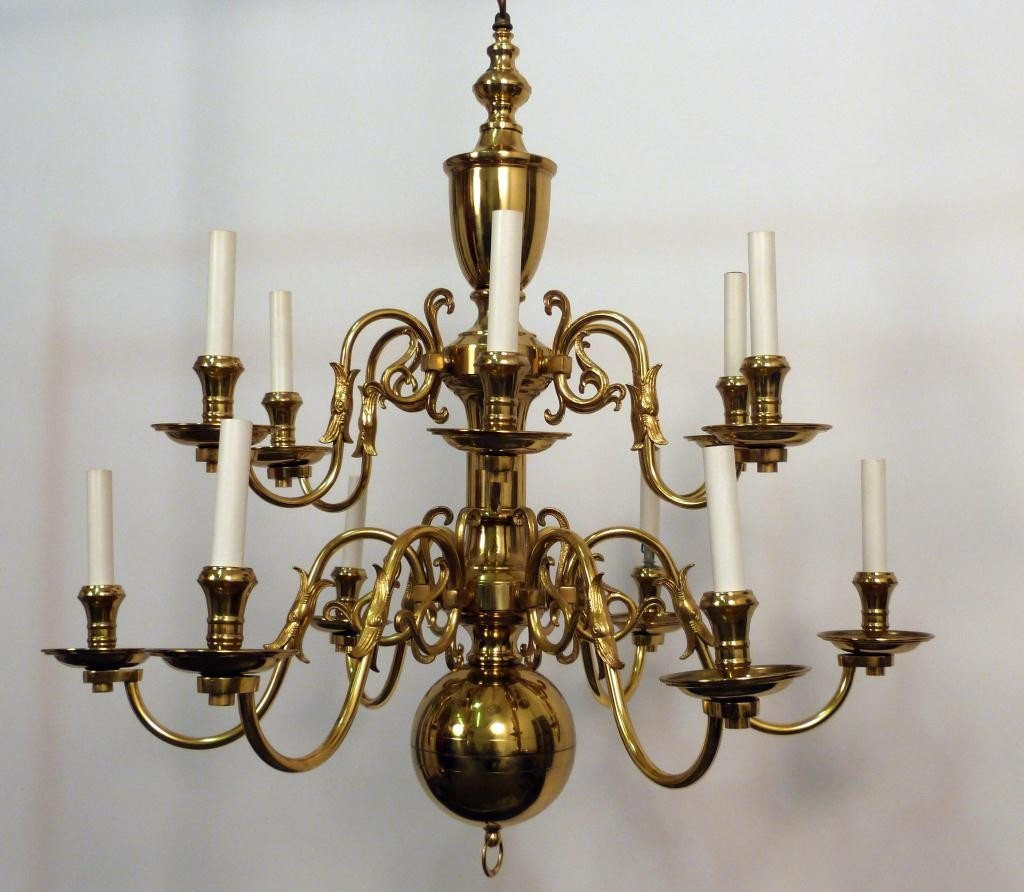117: Dutch Style Brass 12 Arm Chandelier