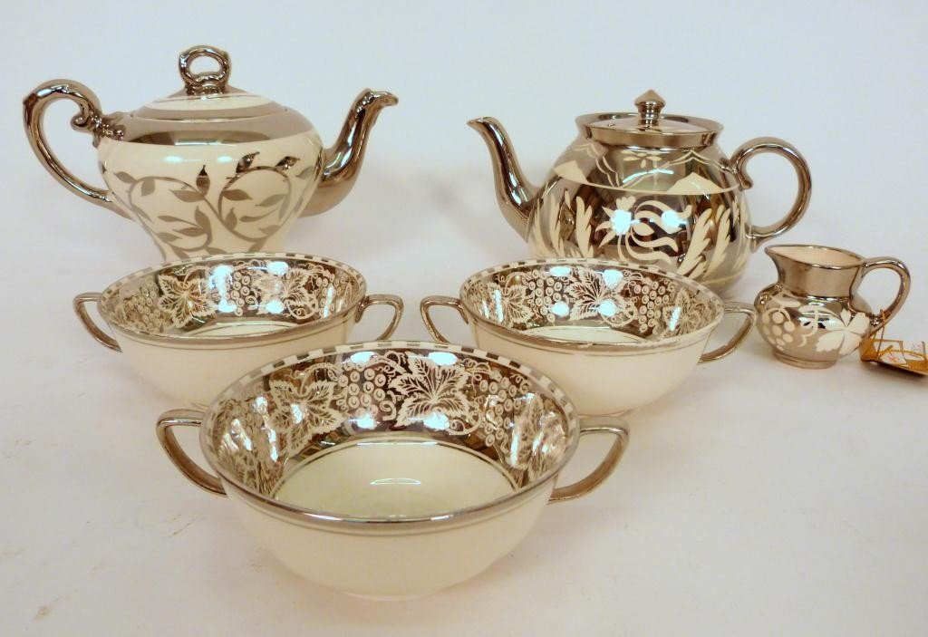16: Assembled Silvered Porcelain Tea Set