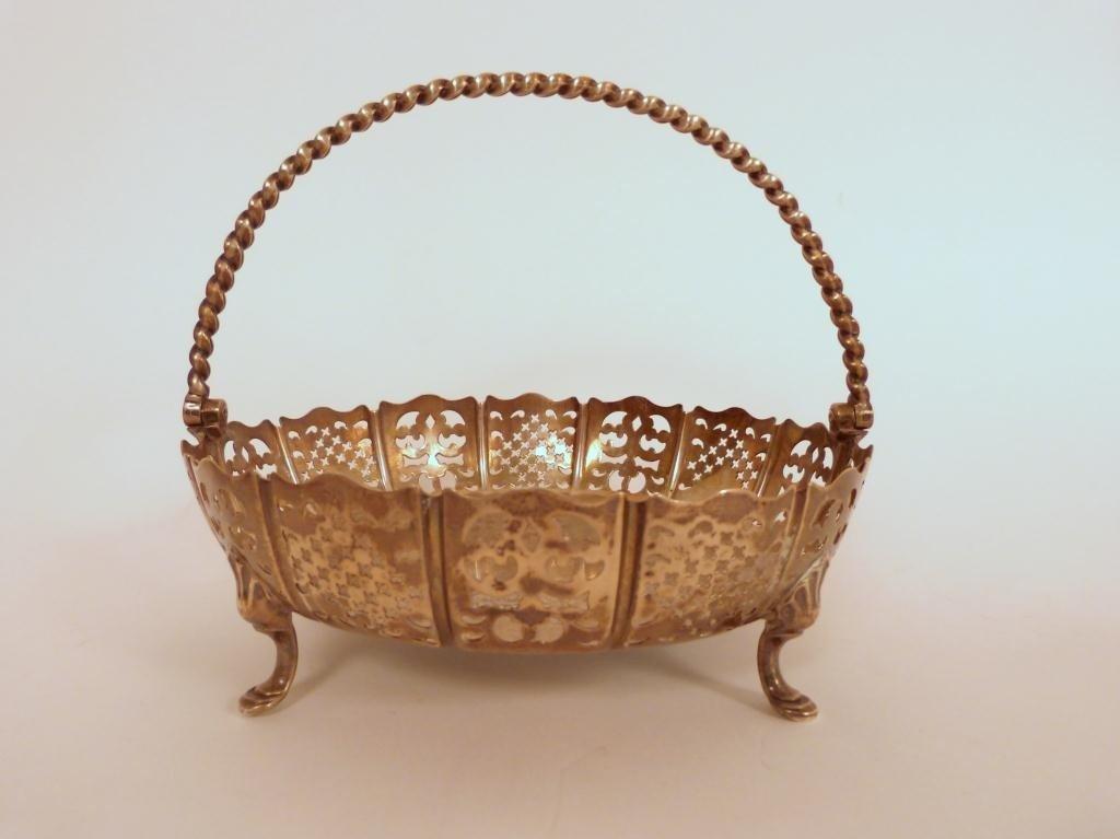 1: English Silver London Handled Basket