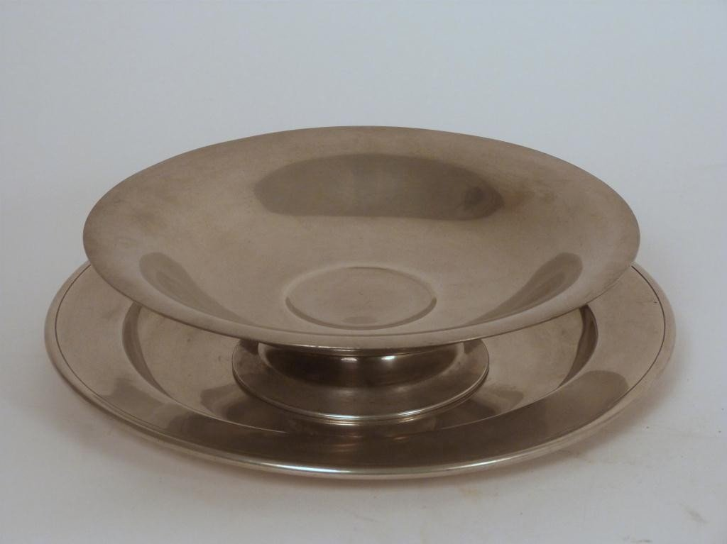 4: L. H. Vaughan Pewter Bowl and Under Plate