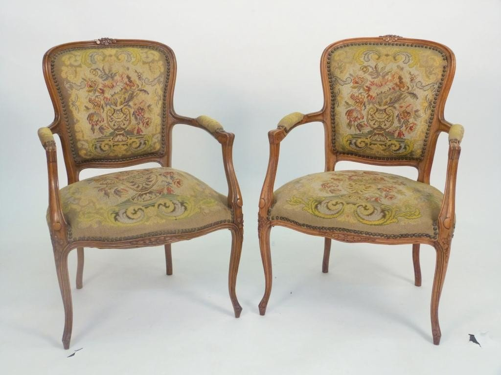 35: Pair French Needlepoint Fauteuils