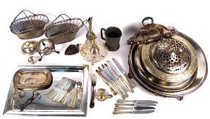 3 Large Lot Assorted Silver Plated Articles