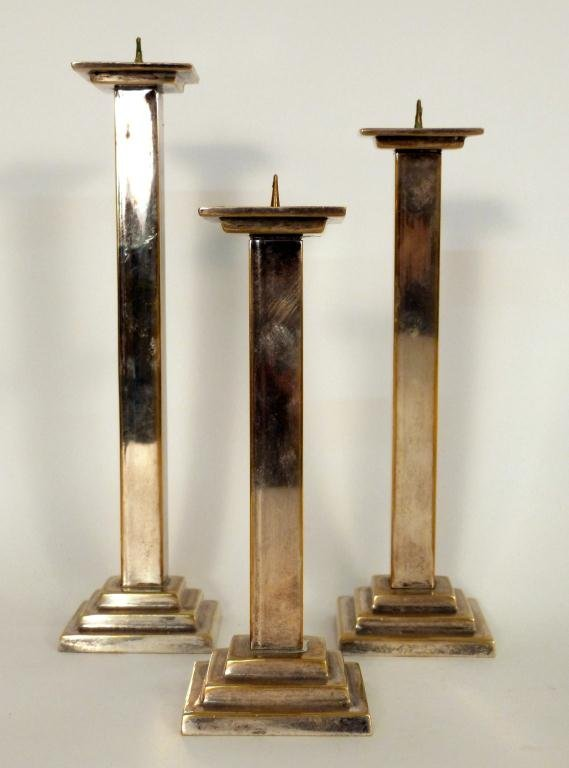 4: Set of 3 Silver Plated Candlesticks