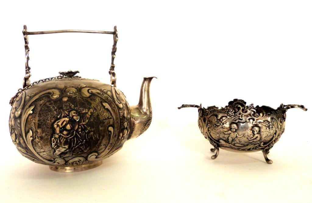 6: Antique Silver Teapot and Open Sugar Bowl