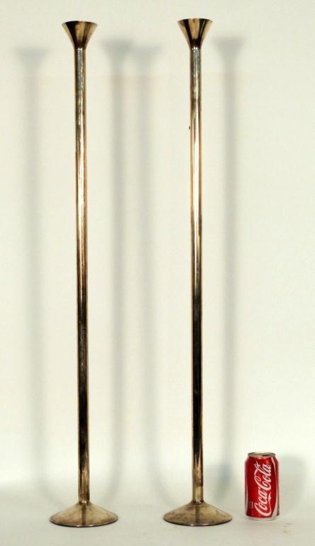 8: Pair Porter Blanchard Sterling Tall Candlesticks