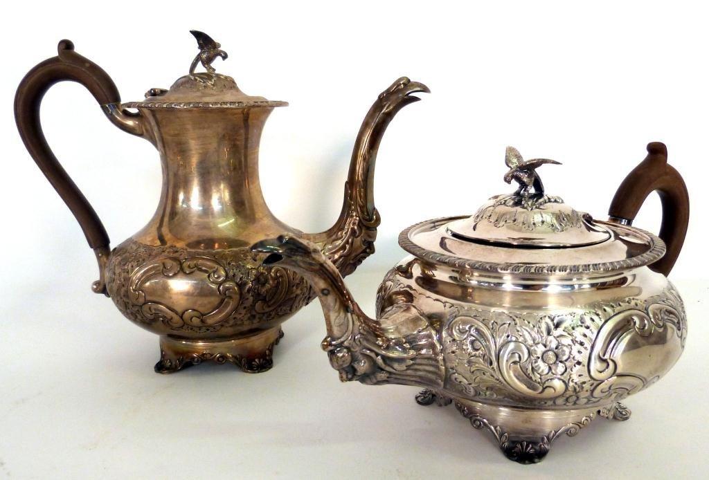 9: Set of 2 Sterling Silver Tea & Coffee Pots