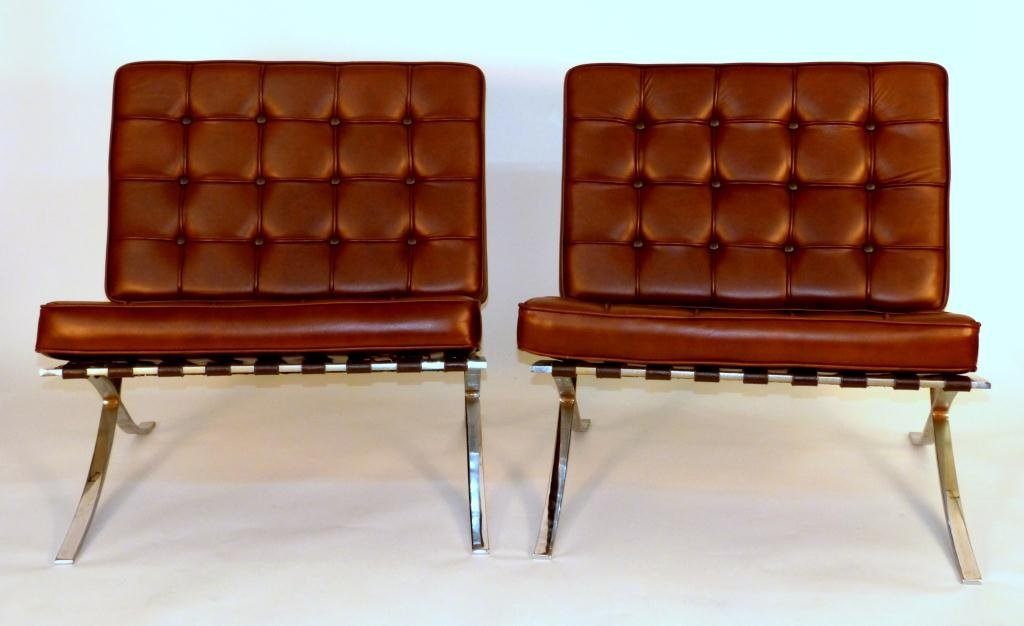 68: Pair Barcelona Style Chairs *NOT LEATHER