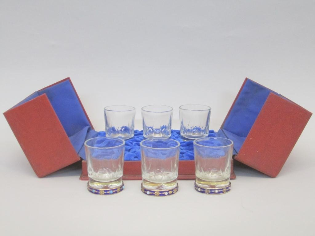 7: Set of 6 Russian Enamel Rimmed Glasses