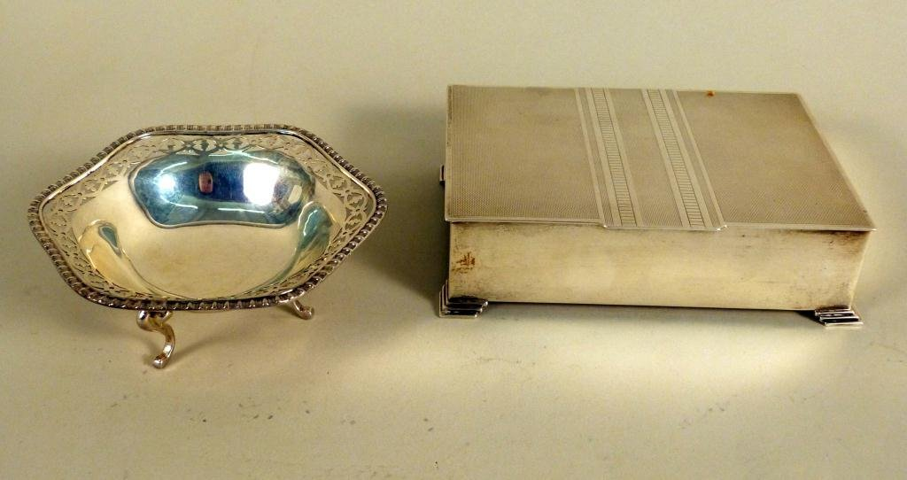 16: Silver Candy Dish and Cigarette Box