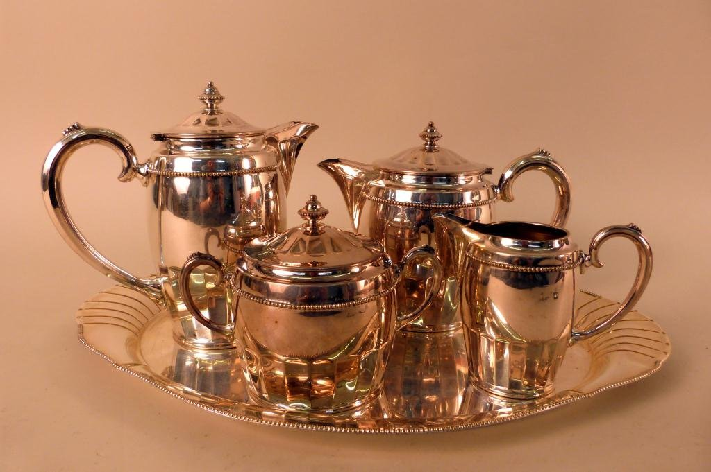 18: 5 Piece Silverplate Tea Service European