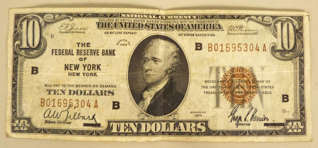 21: US Federal Reserve $10 Note ~ Series 1929