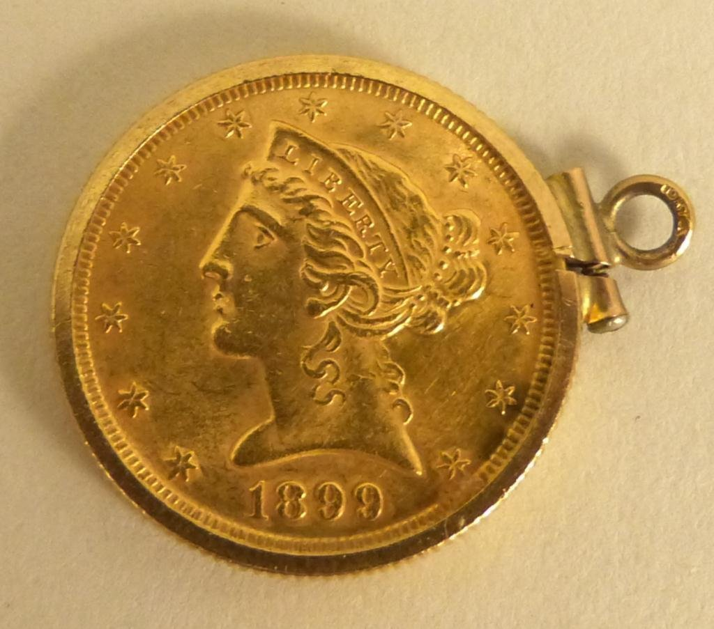 "22: 1899"" Liberty US $5 22K Gold Coin"""