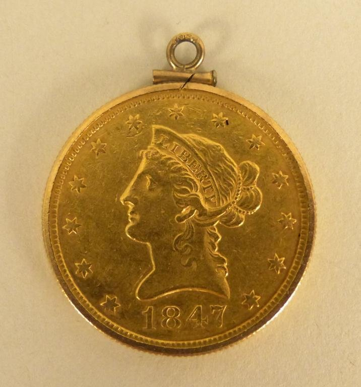 "23: 1847"" Liberty US $10 22K Gold Coin"""