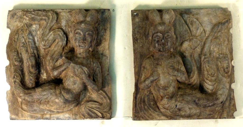 "172: Pair Asian Stone Plaques of ""Apsara"""