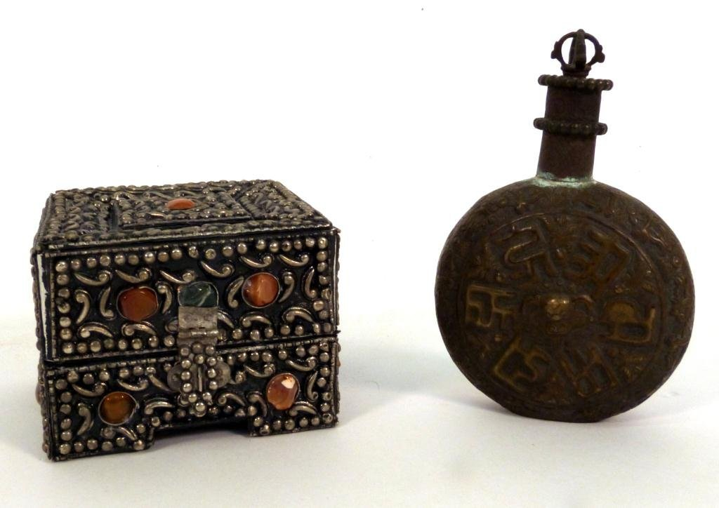 1: Jeweled Metal Box and Canteen