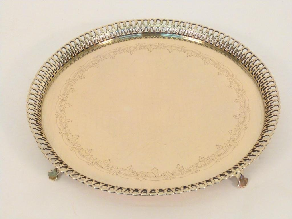 9: Continental Silver Footed Galleried Serving Tray