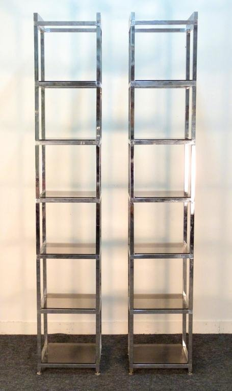 Two Tall Chrome and Glass 6 Shelf Etageres