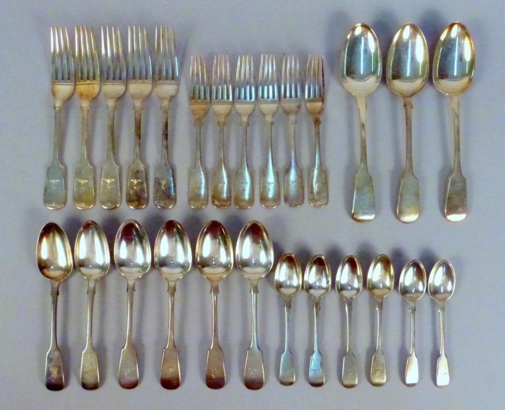 3: English Silver Plate Partial Flatware Set