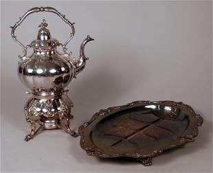 Silver Plated Tray & Coffee Pot
