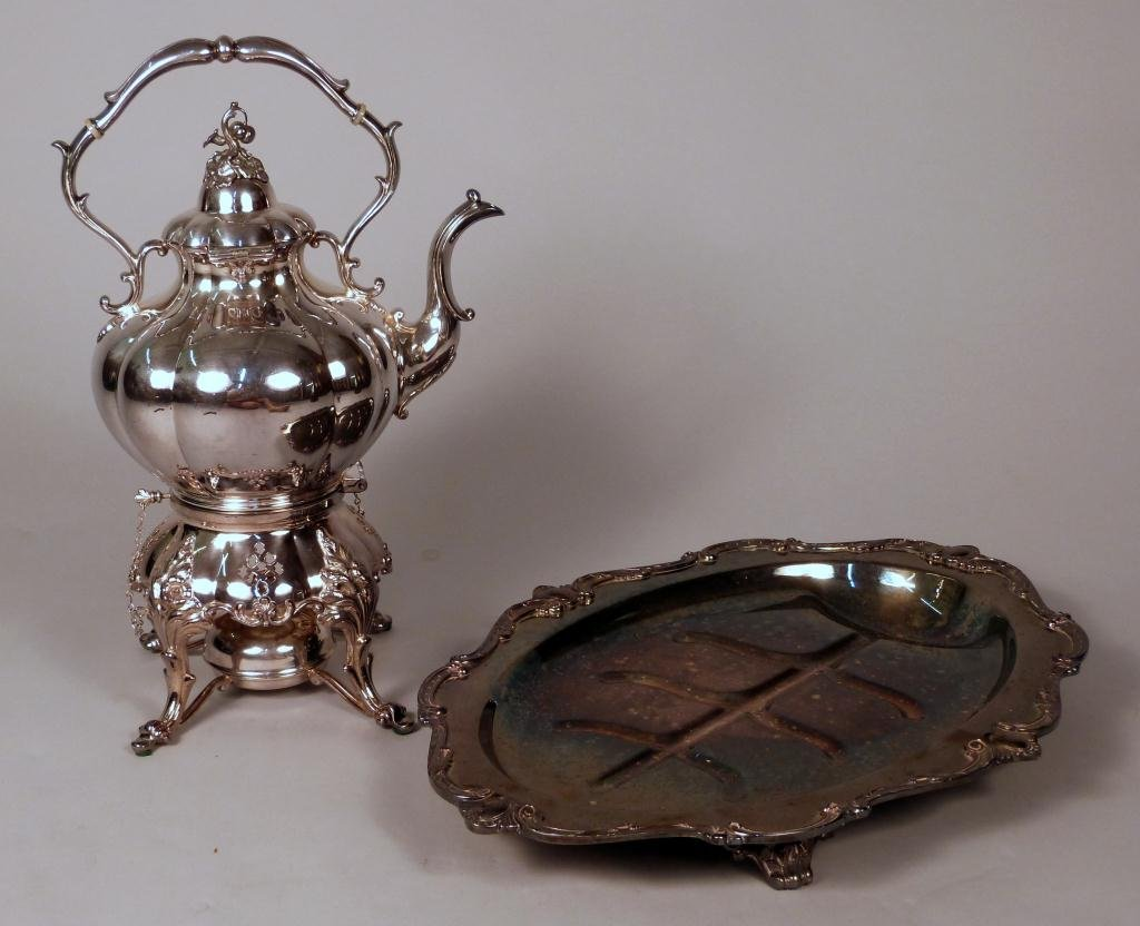 11: Silver Plated Tray & Coffee Pot