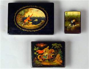 3 Russian Lacquer Boxes