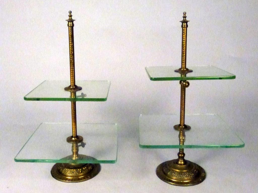 23: Pair Brass & Glass Cookie/Petit Four Stands