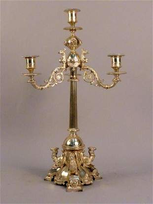 Neo-Classical Style Silver Plated Candleabrum
