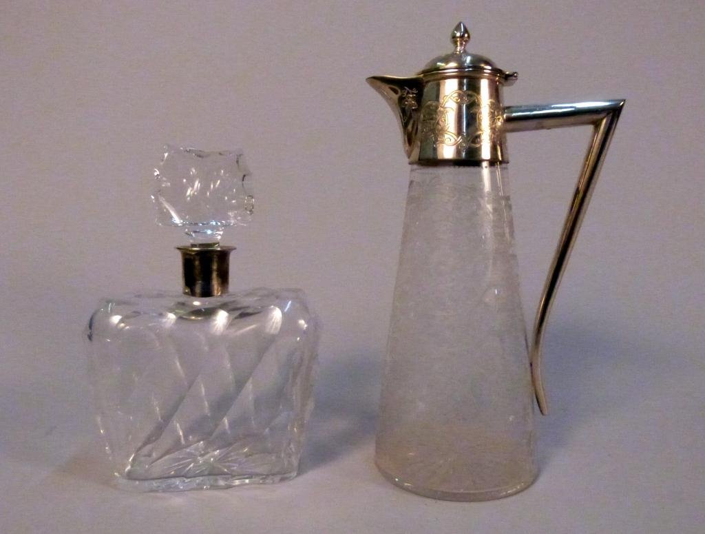 3: Silver Rimmed Decanter & Pitcher