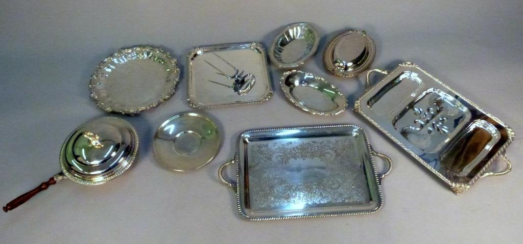 6: Assorted Silver Plated Platters,Trays
