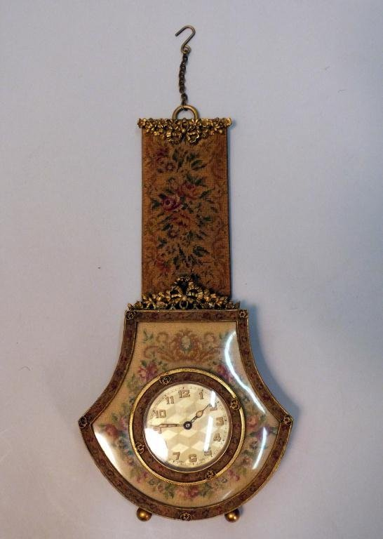 23: Miniature Clock in Needlepoint Frame & Fob
