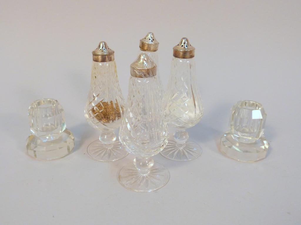 17: 4 Waterford Shakers & Pair Crystal Candlesticks