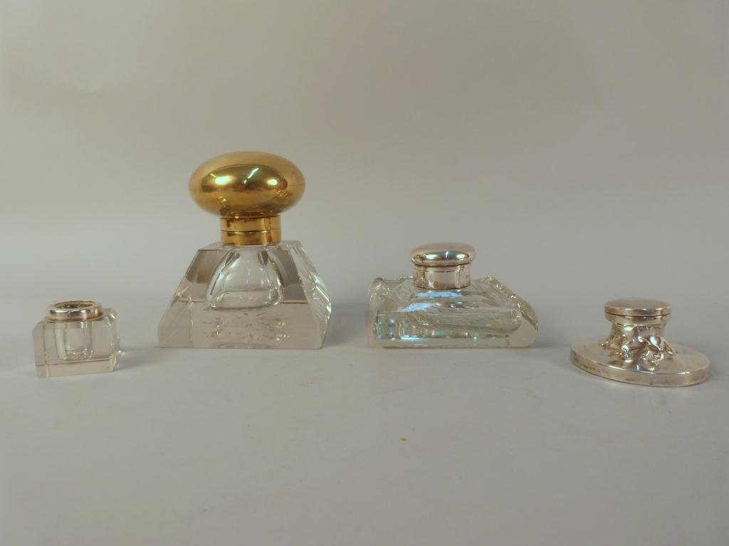 24: 4 Crystal & Brass and Silver Topped Inkwells
