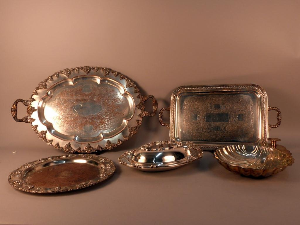 11: 5 Large Silver Plated Serving Pieces