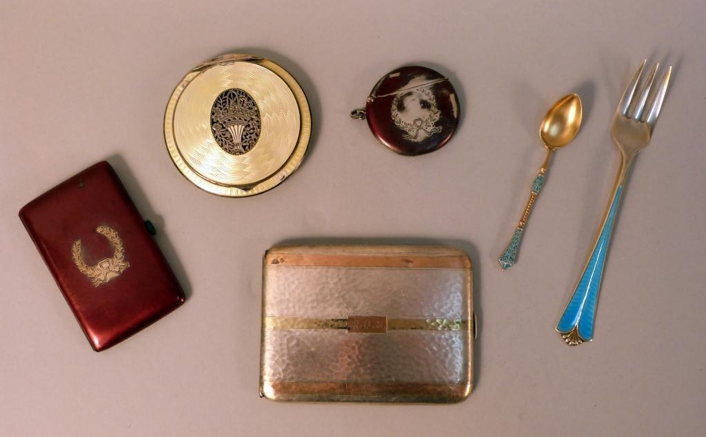 18: Assorted Silver Enamel Vanity Objects