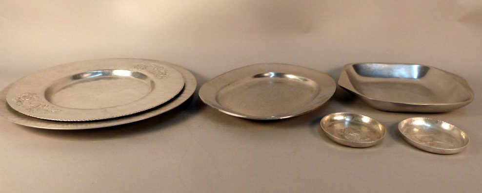 19: Six Pewter Serving Pieces