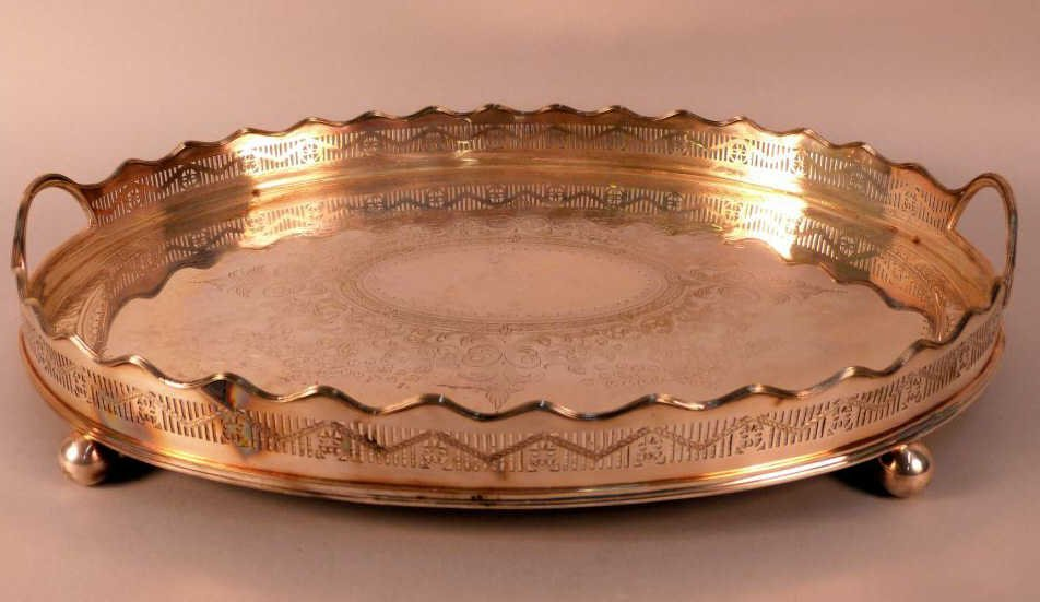 21: Large Silver Plated Serving Tray
