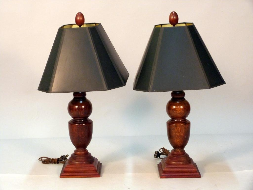 147: Pair Lathe Turned Wood Table Lamps
