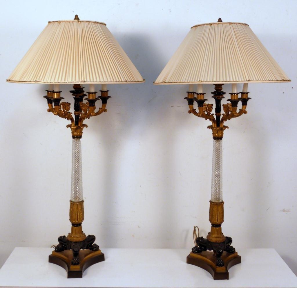 178: Pair Antique Empire Bronze Candelabra Lamps