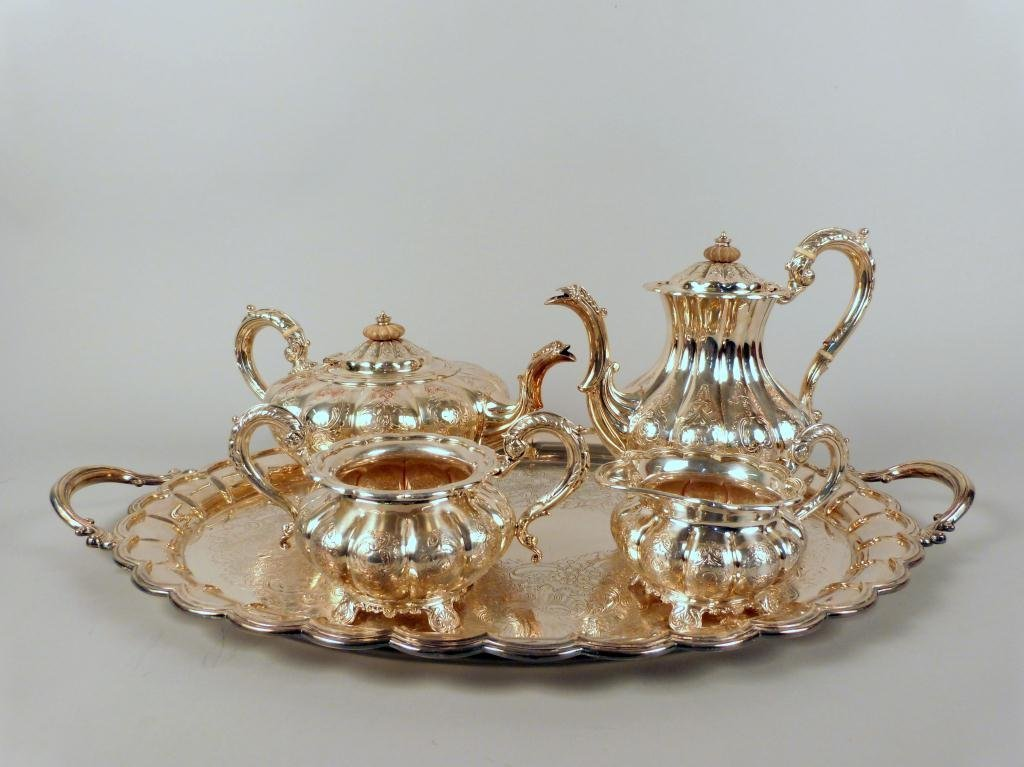 4: 5 Piece Sheffield Silver Plate Tea & Coffee Set