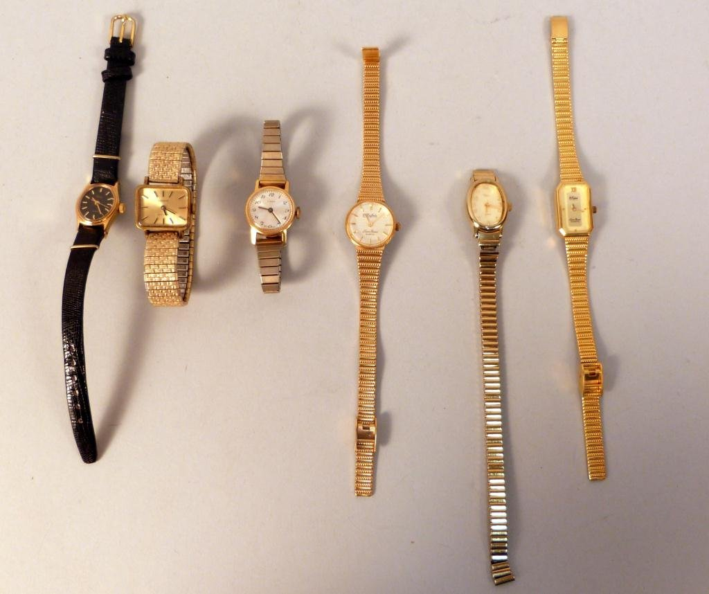 11: 6 Gold Tone Ladies Dress Watches