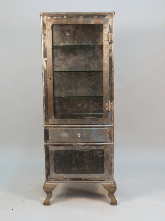 129: Vintage Brushed Metal Apothecary Cabinet - Vintage Brushed Metal Apothecary Cabinet