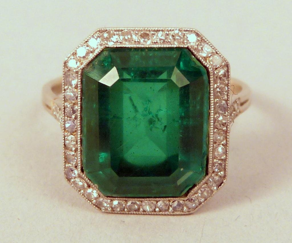 15: Platinum Diamond and Synthetic Emerald Ring