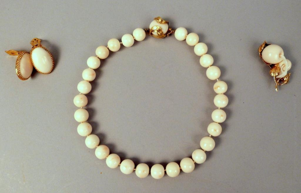 19: 14K Gold & White Coral Necklace, Pin & Earrings