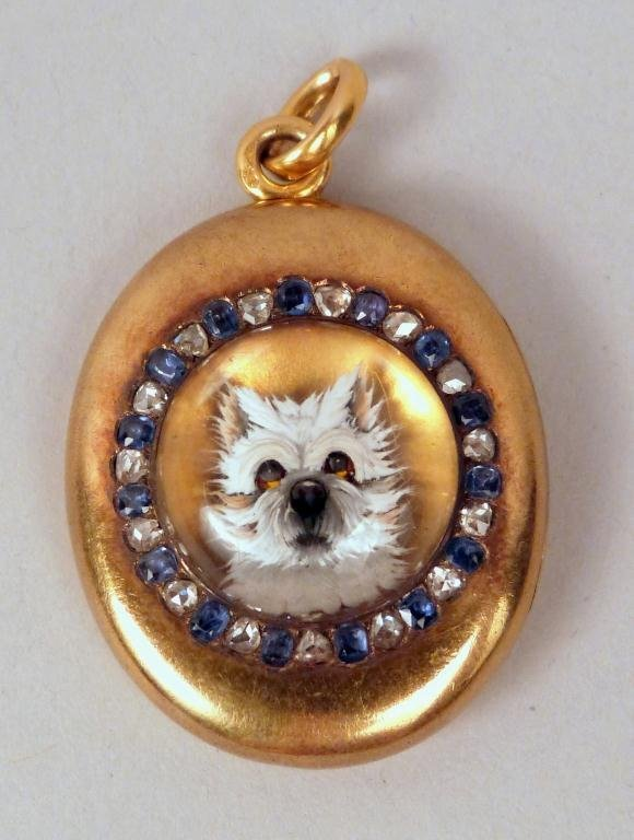 23: 14K Gold Locket with Essex Crystal Dog Mount