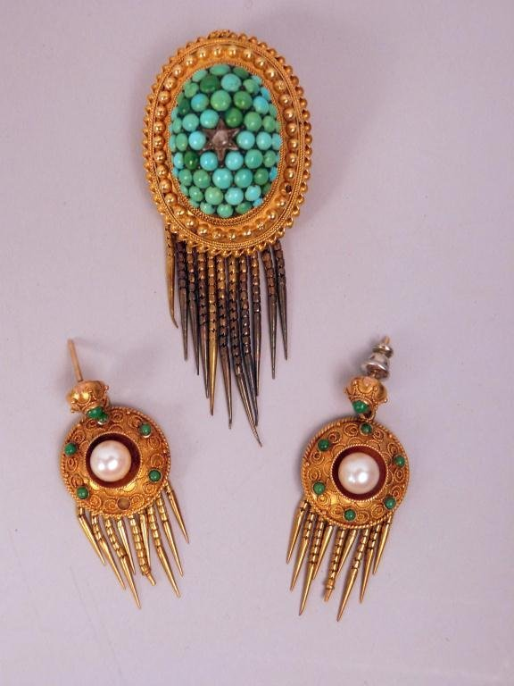 22: 3 Piece Victorian Gold and Turquoise Suite